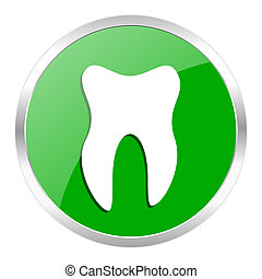 tooth icon - green web gloosy button
