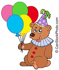 Clown bear with balloons - isolated illustration.