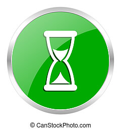 time icon - green web gloosy button