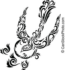 Dove floral ornament art vector picture