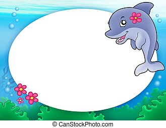 Round frame with dolphin girl - color illustration.