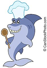Shark chef with spoon - isolated illustration.