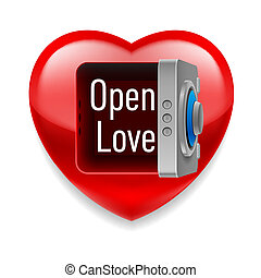Open Love image - Shiny red heart with open safe door and...