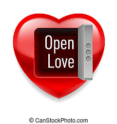 Open Love image - Shiny red heart with open vault door and...