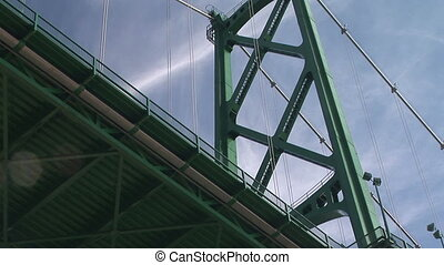Lions Gate Bridge, Vancouver, British Columbia, Canada, low...