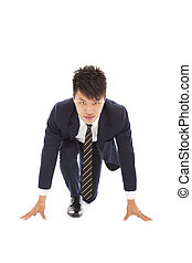 full of confidence businessman make a running pose
