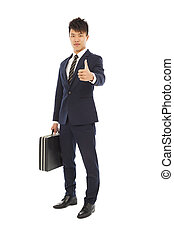 young businessman holding a briefcase and thumb up