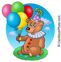 Bear clown with balloons on meadow - color illustration.