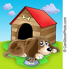 Dog resting in front of kennel - color illustration.