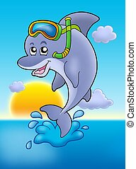 Dolphin snorkel diver with sunset - color illustration.