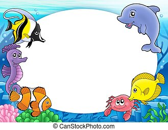Round frame with tropical fishes - color illustration