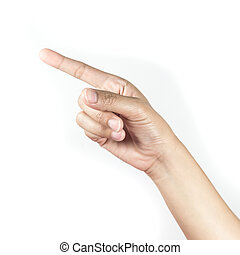 Woman hand pointing on white background
