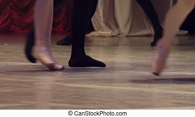 Ballet Couple on Stage - Dancing couples show classical...