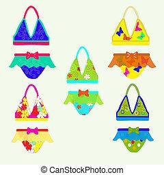 collection of children's swimwear