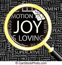 JOY Word cloud illustration Tag cloud concept collage
