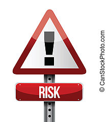 risk warning sign illustration design over a white...