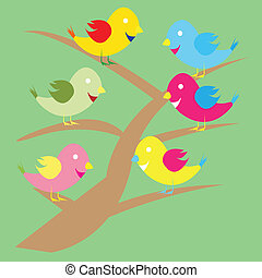 Cute birds on a tree branch.