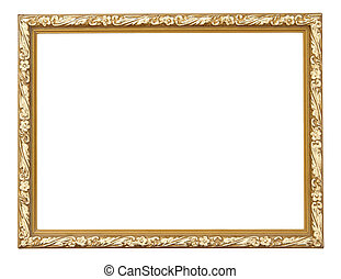 Gold picture frame isolated on white background