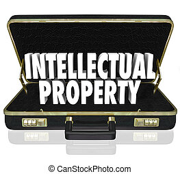 Intellectual Property 3d words in a black leather briefcase...