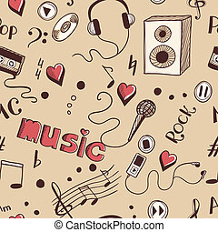Semless background with sketch music elements. Eps 8 vector...