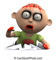 3d Zombie break out - 3d render of a zombie appearing from...