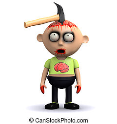 3d Zombie injury - 3d render of a zombie with a hammer in...