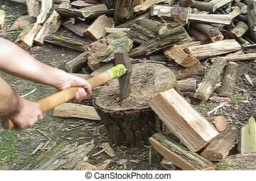 woodcutter with axe in slowmotion