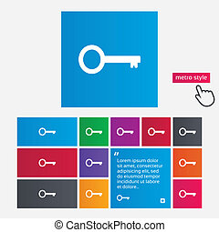 Key sign icon Unlock tool symbol Metro style buttons Modern...