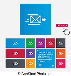 Mail delivery icon Envelope symbol Message sign Mail...