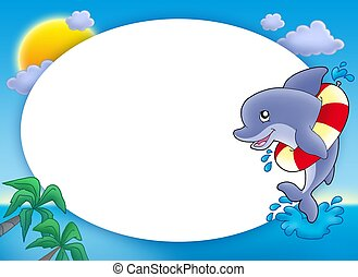 Round frame with jumping dolphin