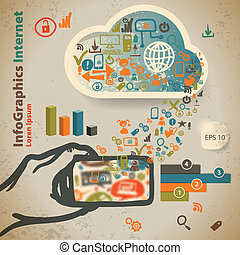 Template for infographic with content in the cloud in vintage style