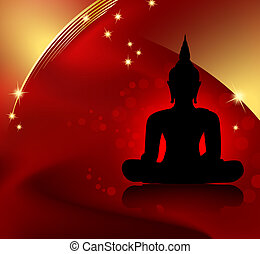 Buddha background - Black buddha silhouette against red...