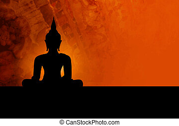 Buddha background - Buddha silhouette against grunge orange...