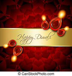 oil lamps with diwali greetings over red background - oil...