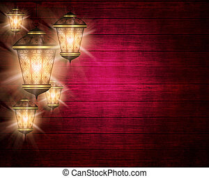 ramadan kareem background with shiny lanterns - dark wooden...