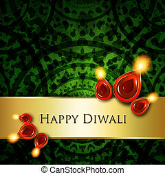 oil lamps with diwali greetings over green background - oil...