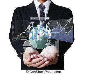 financial symbols coming from hand - businessman with...