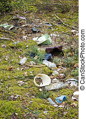 environment pollution - waste in the forest
