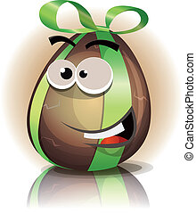Cartoon Chocolate Easter Egg Character - Illustration of a...