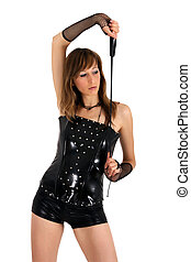 woman posing with whip