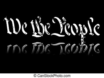 We The People - Abstract illustration of the preamble to the...