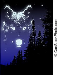 Wolf Spirit - The spirit of the wolf in the sky above the...