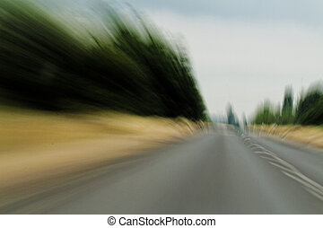 Swiftness - Speed on the road in nature - blur landscape