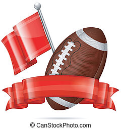 American Football Poster with Ball, Flag and Ribbon, vector...