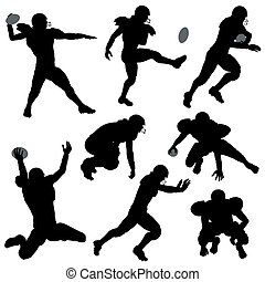 Silhouettes American Football Players - Set of Silhouettes...