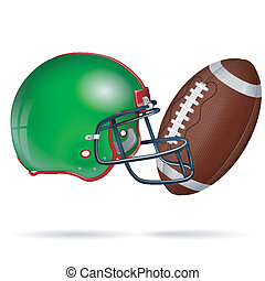 American Football Poster with Ball and Helmet, vector...