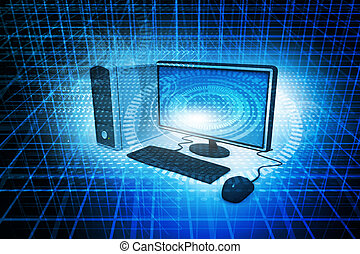 Digital illustration Realistic Desktop Computer on abstract...