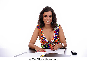 Young business woman at work