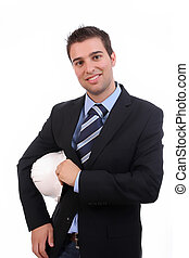 successful businessman, posing isolated over white...