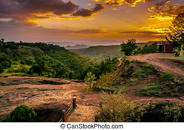 Evening view with Church of St. George in Lalibela, Ethiopia...